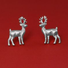 Deer Animal Stud Earrings made from 925 Sterling Silver. The perfect Christmas gift for her. You will love their delicate design! These cute earrings have a wonderful detailing and flawless 3D craftsmanship with my unique repousse technique. #deerearrings #christmasearrings #deerjewelry #silverdeer #christmasjewelry #christmasjewellery #christmasgift