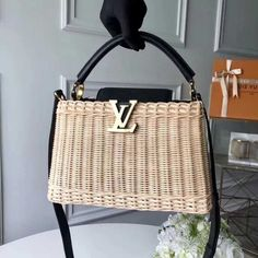 Louis Vuitton Rattan-Weaved and Leather Capucines BB Bag Black 2018 Chanel Handbags, Louis Vuitton Handbags, Tote Handbags, Purses And Handbags, Louis Vuitton Monogram, Summer Handbags, Vuitton Bag, Cross Body Handbags, Authentic Louis Vuitton