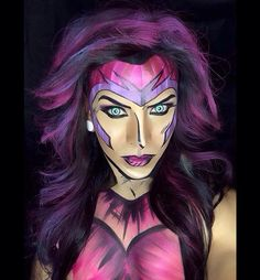 Pin for Later: Get Ready For Your Jaw to Drop When You See These Comic Book Makeovers Woman Comic It's Marvel meets Jem and the Holograms. Halloween Looks, Halloween Costumes, Halloween Face Makeup, Halloween Eyes, Adult Halloween, Comic Book Makeup, Comic Books, Cosplay Makeup, Costume Makeup