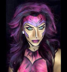 Woman Comic Halloween Looks, Halloween Costumes, Halloween Face Makeup, Halloween Eyes, Adult Halloween, Comic Book Makeup, Comic Books, Cosplay Makeup, Costume Makeup
