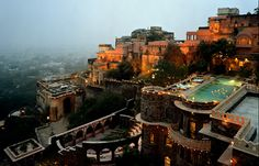 Neemrana Fort Palace - Built since 1464, Neemrana Fort-Palace became the third capital of the descendants of Prithviraj Chauhan , who had fled Delhi in 1192 after he was killed by the Islamic invasion of India, in battle by Muhammad Ghori. Neemrana's rulers, proud of lineage, continued to assert themselves, even under the British. Eventualy they acquired the ruins of the Palace and bought it back to its former Indian Royalty