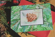 Watercolor Christmas Cards 8 Pine Cone by SycamoreWoodStudio
