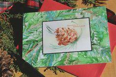 Watercolor Christmas Cards 8 Pine Cone by SycamoreWoodStudio
