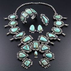 NAVAJO-SILVER-TURQUOISE-SQUASH-BLOSSOM-NECKLACE-BRACELET-RING-SET-by-KIRK-SMITH