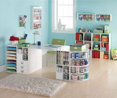 hi hometalkers check out my album of bonus rooms it s that one spare room in the, home decor, Craft Room Bright airy color to encourage those creative juices to flow Shelving storage check