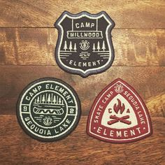 Patch samples for @elementskatecamp #patches #wedontneednostinkingpatches #graphicdesign #neighborhoodstudio Hat Patches, Pin And Patches, Garra, Badges, Branding Design, Logo Design, Art Design, Forest Color, Badge Logo