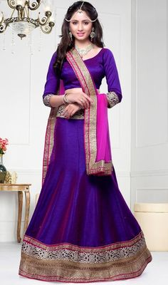 Look stunning gorgeous dressed with this deep purple embroidered raw silk lehenga choli. This charming attire is showing some great embroidery done with lace and resham work. Upon request we can make round front/back neck and short 6 inches sleeves regular lehenga blouse also. #BegullingPurpleShadesOfLehengaCholi