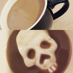 Something is lurking in the bottom of my new #coffee cup... a #skull. Loving my oversized drinks thanks to @creaturecups.