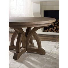 Hooker Corsica Round Extendable Dining Table in Light Wood