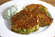 Greek Style Zucchini Fritters with Tzatziki  This guy's food blog is amazing!!!
