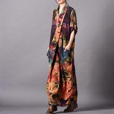 8094d07386884 Spliced Print Vintage Tencel Women Dress