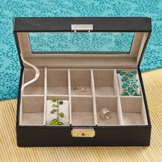 Keep necklaces, bracelets and watches safe & untangled in the Personalized Women's Jewelry Case