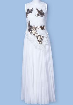 White Sleeveless Sequined Lace Pleated Dress - Sheinside.com
