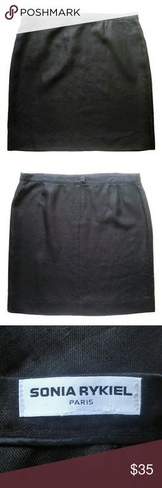"""Sonia Rykiel black linen skirt classic Crisp and fresh, black linen skirt comes to above-the-knee. All season well made wardrobe staple by Sonia Rykiel. Wear with espadrilles in spring and summer or tights and boots in fall and winter. There is no size tag . Size estimated from measurements. Waist is 36"""" . Hips measured 7"""" down from the waist / across the bottom of the zipper - 44"""" Length - 21"""". Approximately French size 48 Excellent condition. Sonia Rykiel Skirts"""