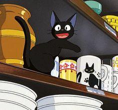 Jiji finds a cup with a black cat resembling himself From Hayao Miazakis wonderful Kikis Delivery Service via studio ghibli Hayao Miyazaki, Art Studio Ghibli, Studio Ghibli Movies, Teddy Lupin, Manga Anime, Anime Guys, Anime Art, Kiki Cat, Jiji Kiki