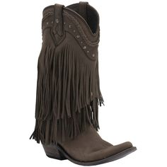 Liberty Black Women's Smog Vegas T-Moro Fringe Snip Toe Western... ($360) ❤ liked on Polyvore featuring shoes, boots, leather boots, cowgirl boots, vintage cowboy boots, fringe cowgirl boots and genuine leather boots