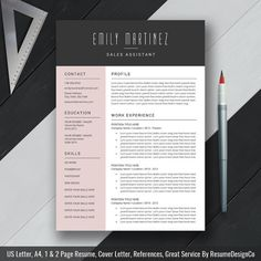 Creative Resume Template Cover Letter CV by ResumeDesignCo on Etsy