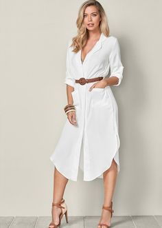 Order Belted Midi Shirt Dress in White from the unique line of VENUS dresses online or Casual Day Dresses, Cute Dresses, Dress Outfits, Fashion Outfits, Womens Fashion, Party Dresses, Formal Dresses, Classy Work Outfits, Formal Dress Shops