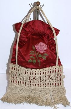 Antique-Vtg-Edwardian-Red-Satin-Macrame-Bag-Purse-Handbag-Handpainted-Pink-Rose