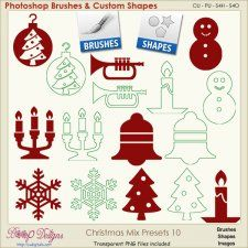 Christmas Brush & Shape PRESETS 10  #CUdigitals cudigitals.comcu commercialdigitalscrapscrapbookgraphics #digiscrap