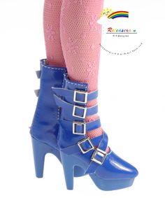 "5-Strap Mary Jane Leather High-Heel Boots Shoes Patent Blue for 16"" Tonner Antoinette, Ellowyne Wilde, Tyler, Gene, Sybarite dolls"