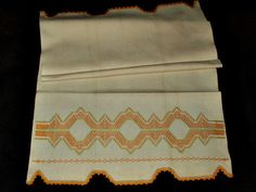 A vintage 1920's huck kitchen towel with Swedish embroidery work. Narrow crochet edging on either end of the towel. The towel is as it was found in storage so it does have some yellowing from over th                                                                                                                                                                                 More