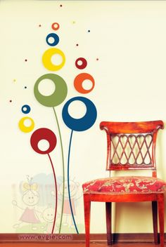 Abstract Flowers  – Living Room Wall Decal – evgieNev