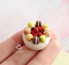 Miniature cake with macaroons for dolls and от SweetMiniDollHouse