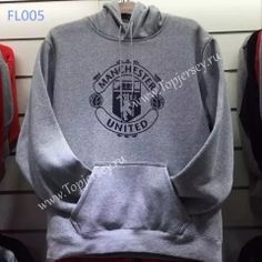 2016-17 Manchester United Gray  Hooded Thailand Soccer Tracksuit Top