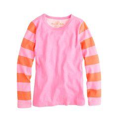 Girls' long-sleeve stripe neon tee