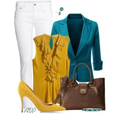 Yellow, Teal, and White