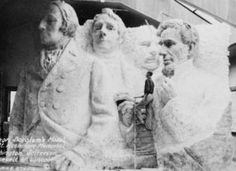 A model at the site depicting Mount Rushmore's intended final design. Although the initial concept called for each president to be depicted from head to waist, lack of funding forced construction to end in late October 1941.