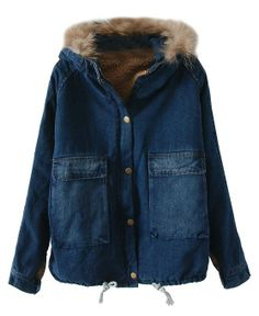 Blue Fur Hooded Denim Coat - Clothing