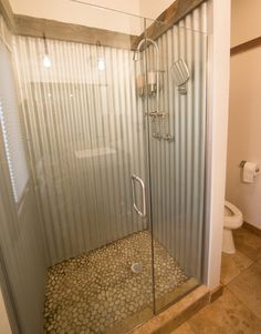 Galvanized shower for the basement bathroom