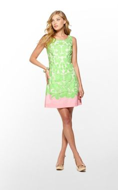 Capricia Dress in New Green Oversized Engineered Eyelet; I'd need a jacket to cover my upper arms - this is too cute