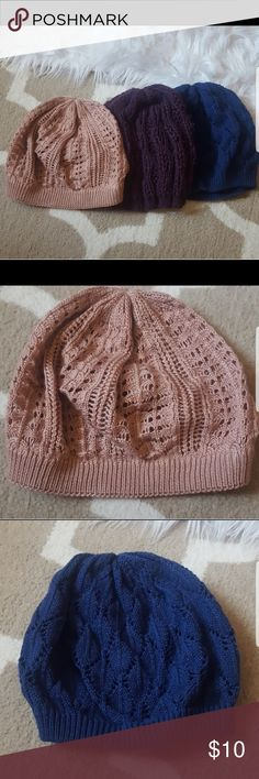3 PACK BEANIE --- pink, royal blue and dark purple Final sale-- ALL IS VERY NEW CONDITION American Rag Accessories Hats