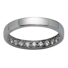 These unique wedding rings feature a white gold band with a private interior that sparkles with round brilliant diamonds.