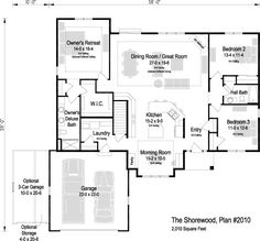 The Shorewood, Plan 2010 Great Rooms, Ranch, House Plans, New Homes, Floor Plans, Flooring, How To Plan, Luxury, Bedroom