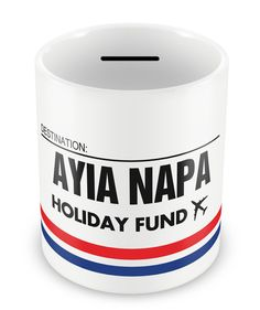 AYIA NAPA Holiday Fund Money Box - Gift Idea Travelling Savings Piggy Bank