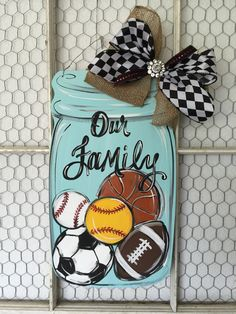 Hey, I found this really awesome Etsy listing at https://www.etsy.com/listing/234339217/sports-mason-jar-door-hanger