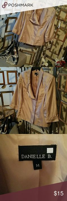 After Five cocktail jacket by  Danielle B. Sz. 14 Gold tone, shimmering cocktail jacket size 14 by Danielle B. Jacket has a large bowl that accents the collar. Clear, glass looking buttons in front of jacket.  Three quarter length sleeves that have a deep set cuff. Fully lined. 100% polyester.  Great with formal pants or a skirt. Danielle B. Jackets & Coats