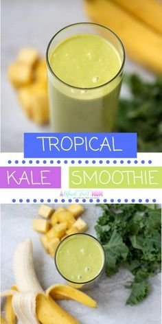 An easy, plant based tropical green smoothie made with pineapple, coconut milk, bananas, and kale. Pineapple Kale Smoothie, Pineapple Banana Smoothie, Easy Healthy Smoothie Recipes, Pineapple Coconut, Fruit Smoothies, Healthy Food, Healthy Meals, Easy Recipes, Easy Meals