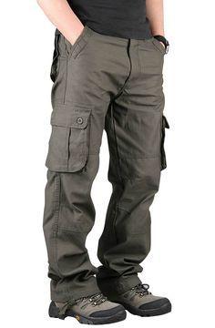 Men s Extra Large Multi Pockets Outdoor Cargo Pants Casual Loose Cotton  Trousers Pantalones Cargo Hombre 7d4c5d31e124