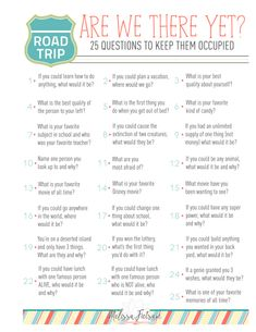 road trip free printable, questions to ask on road trip, questions to ask kids, conversation starters printable Road Trip With Kids, Family Road Trips, Travel With Kids, Family Travel, Road Trip Activities, Road Trip Games, Road Trip Snacks, Road Trip Essentials, Car Travel