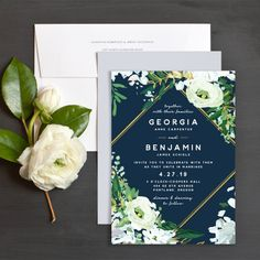 Painted Greenery Wedding Invitations in navy | Elli