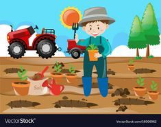 Farm scene farmer planting tree in the field Vector Image Art Drawings For Kids, Drawing For Kids, Art For Kids, Harvest Activities, Spring Activities, Tooth Cartoon, Farm Vector, Farm Images, Cartoon Clouds