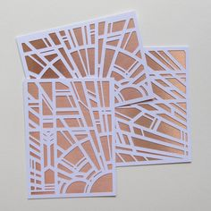Here we go: 3 Art Deco, Frank Lloyd Wright, stained glass-inspired paper cut cards; bright white and shiny copper foil front, clean white back.