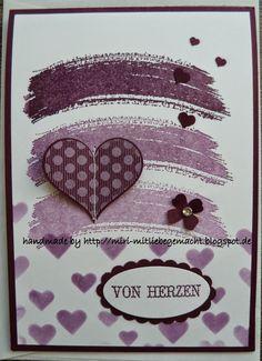 Birthday card with Working of Art, Dekoschablone Herzen, Eins für alles, Herzbordürenstanze und Itty Bitty Formen in Brombeermousee