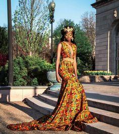 Beautiful #kente print gown.... #zabbadesigns #africanprint #africandress #ghana #liberia
