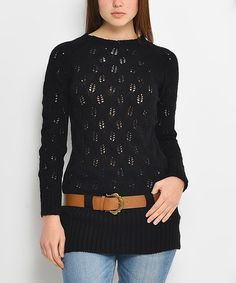 $39.99 Love this Black Pointelle Belted Wool-Blend Sweater on #zulily! #zulilyfinds